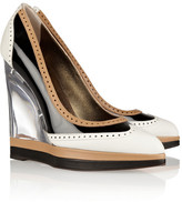 Lanvin Leather and patent brogue-style wedges