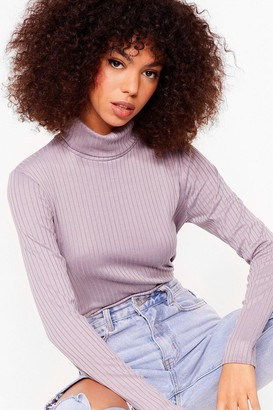 Nasty Gal Womens Roll With It Ribbed Turtleneck Sweater - Lilac