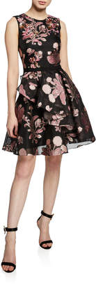 Marchesa Metallic Floral-Embroidered Sleeveless Cocktail Dress w/ Back Cutout