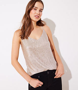 LOFT Petite Shimmer Pleated Cami