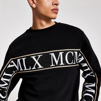River Island MCMLX black tape slim fit sweatshirt