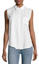 DL1961 Premium Denim N7TH & Kent Sleeveless Button-Down Top, White