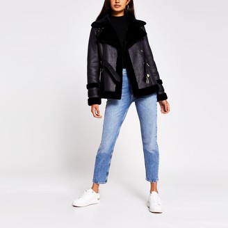 River Island Womens Black belted Faux shearling Aviator jacket