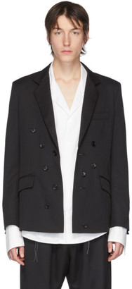 Sulvam Black Wool Double-Breasted Blazer