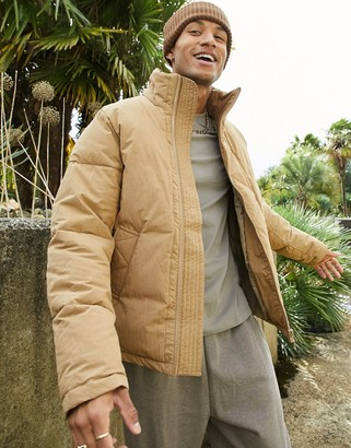 ASOS DESIGN puffer jacket in brown