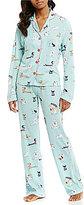 PJ Salvage Dog-Print Jersey Pajamas & Sleep Mask