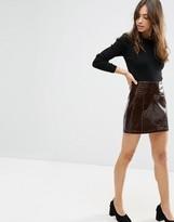 Asos Mini Skirt in PU Patent Croc Texture
