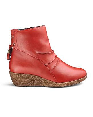 Jdw Leather Wedge Ankle Boots EEE Fit
