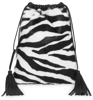 ATTICO Zebra-Print Goat Fur Leather Pouch