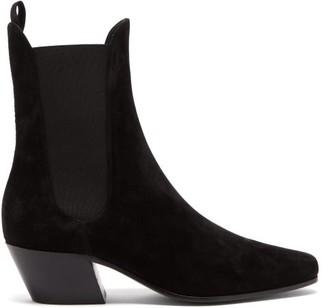KHAITE Saratoga Suede Chelsea Boots - Black