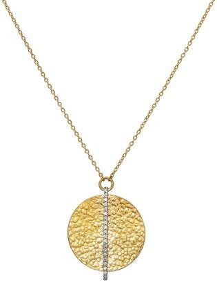 Gurhan 24kt yellow gold Lush pave diamond Circle pendant necklace