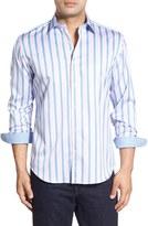 Bugatchi Shaped Fit Stripe Sport Shirt (Tall)