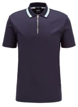 HUGO BOSS Zip Neck Polo Shirt In Interlock Cotton - Dark Blue