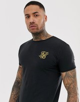 SikSilk t-shirt in black with gold logo