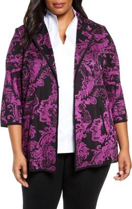 Ming Wang Floral Knit Jacket