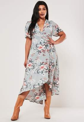 Missguided Plus Size Blue Floral Midaxi Wrap Dress