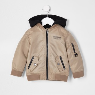 River Island Mini boys Beige bomber jacket