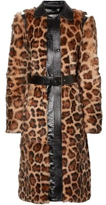 Givenchy Belted Leather-trimmed Leopard-print Shearling Coat