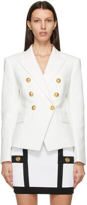 Balmain White Pique Six-Button Blazer