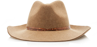 Eric Javits Western Leather-Trimmed Wool Fedora