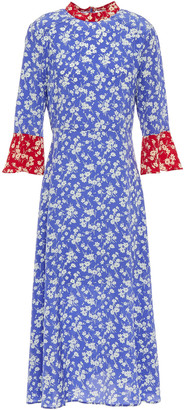 HVN Floral-print Silk Crepe De Chine Midi Dress