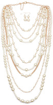 Ella & Elly Women's Earrings White - Imitation Pearl & Goldtone Layered Statement Necklace Set