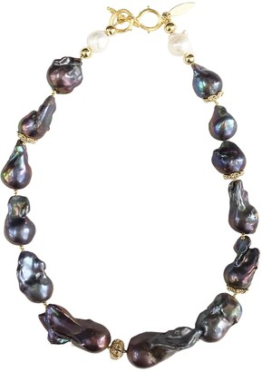 Farra Deep Purple Natural Baroque Pearls Necklace