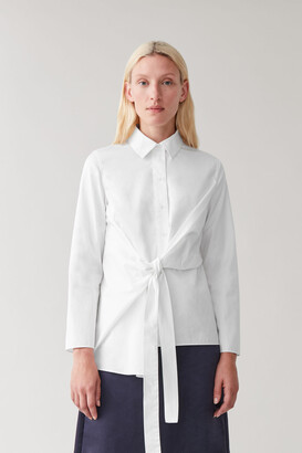 Cos Draped Tied Cotton Shirt