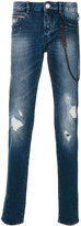 Emporio Armani worn effect jeans with chain
