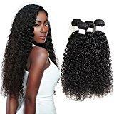 Liang Dian Hair Brazilian Curly Virgin Hair Weave 3 Bundles Unprocessed Human Hair Extensions (16'' 16'' 16'', Natural color)