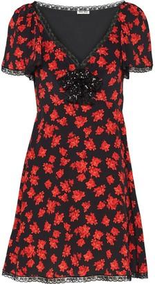 Miu Miu Rose-Print Marocain Dress