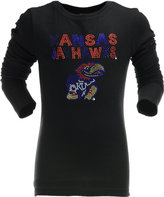 Summit Sportswear Girl's Long-Sleeve Kansas Jayhawks Studded Graphic T-Shirt