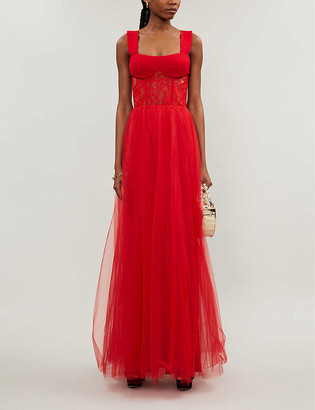 Rasario Sweetheart-neckline tulle and lace gown