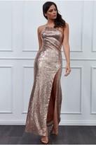 Goddiva Vicky Pattison Champagne One Shoulder Sequin Maxi Dress