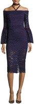 Alexis Belin Off-the-Shoulder Lace Dress w/ Velvet Necktie, Navy