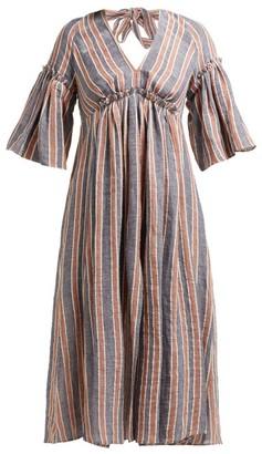 Three Graces London Georgina Open-back Linen Dress - Navy Stripe