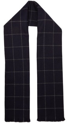 Giuliva Heritage Collection The Aura Windowpane-checked Wool Scarf - Navy