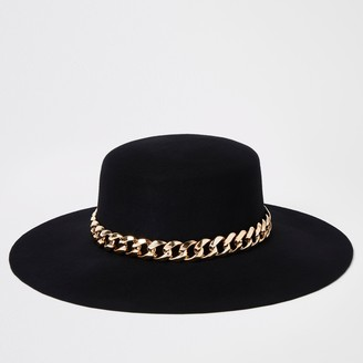 River Island Womens Black gold chain trim fedora hat