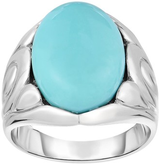 Sterling Silver Turquoise Flower Design Ring