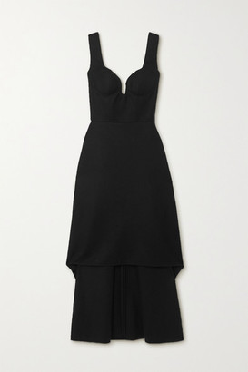 Alexander McQueen Asymmetric Wool Dress - Black