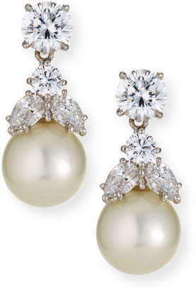 FANTASIA Cubic Zirconia & Synthetic Pearl Earrings
