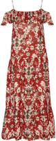 IRO Yonelia cold-shoulder printed broadcloth midi dress