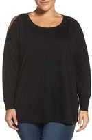 Sejour Plus Size Women's Cold Shoulder Shimmer Sweater