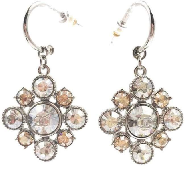 Chanel Silver Tone Metal & Crystal Argyle Dangle Piercing Earrings