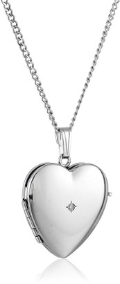 Amazon Collection Sterling Silver Diamond-Accented Four-Picture Heart Locket Necklace 18""