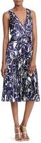 Lauren Ralph Lauren Abstract Floral Print Pleated Satin Dress
