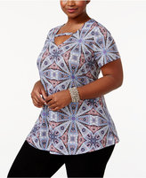 NY Collection Plus Size Printed Swing Top