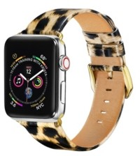 Posh Tech Unisex Leopard Patent Leather Replacement Band for Apple Watch, 42mm