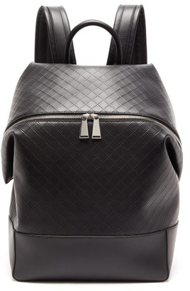 Bottega Veneta Intrecciato-debossed Leather Backpack - Black