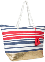 Magid Navy & Red Stripe Gold-Accent Tote